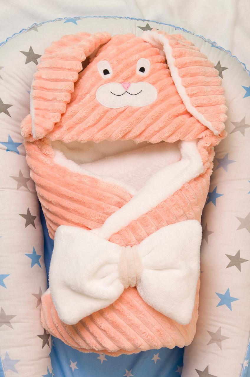 Теплый конверт- плед с капюшоном  для новорожденных