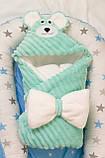 Теплый конверт- плед с капюшоном  для новорожденных, фото 2