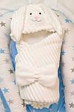 Теплый конверт- плед с капюшоном  для новорожденных, фото 3