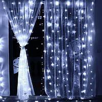 Светодиодная гирлянда Занавес Дождь Водопад  2 на 2 м  240 Led штора  белый синий желтый мульти