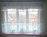 Тюль короткая белая с розовой вставкой, фото 1