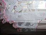 Тюль короткая белая с розовой вставкой, фото 3