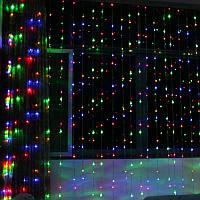 Светодиодная гирлянда «Водопад» 240 LED 2 на 2 м. белая  и  разноцветная синяя желтая