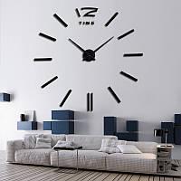 3D-Часы настенные большие с палочками черные 3M001B