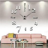 3D-Часы настенные большие с цифрами и надписями металлик 3M002S