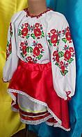 Детская вышитая блуза и атласная юбка красного цвета
