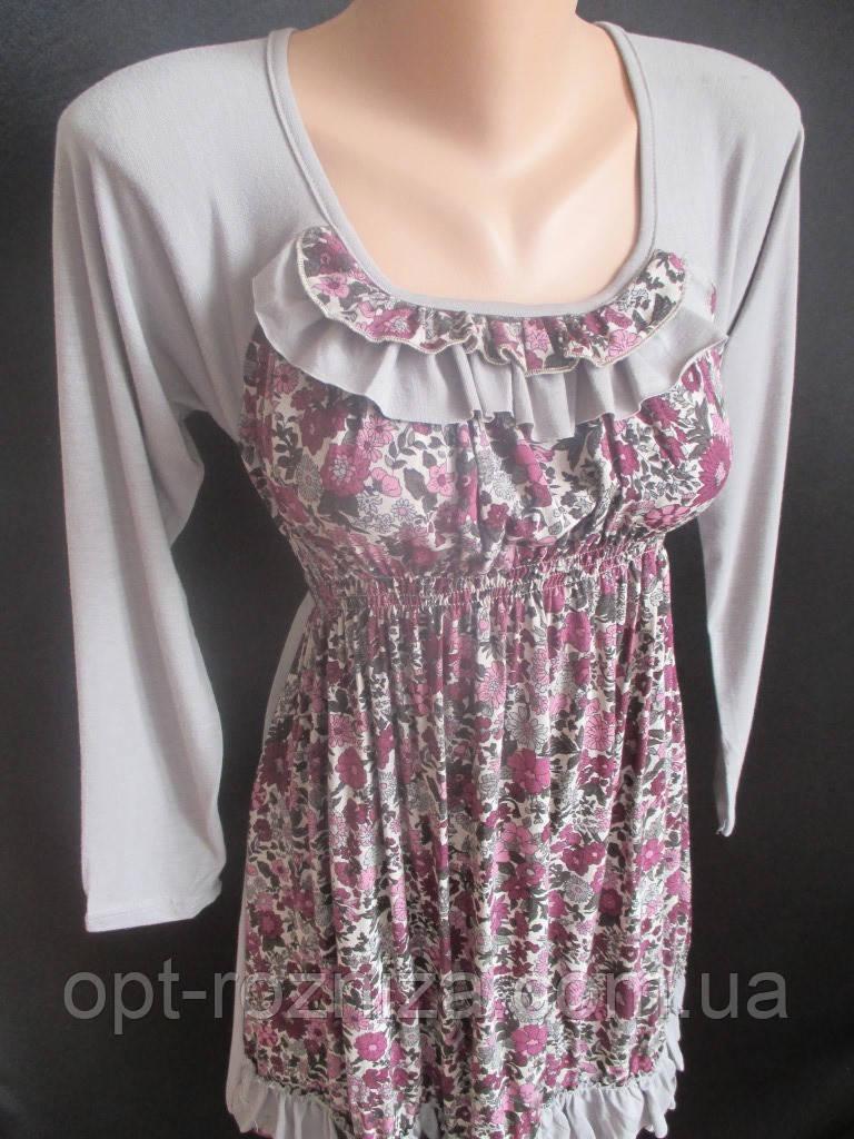 Платье из трикотажа молодежное с оборками.