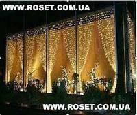 "LED гирлянда занавес ""Водопад"" 480 ламп 3х3 м (Белый, Синий, Желтый,Мульти)"