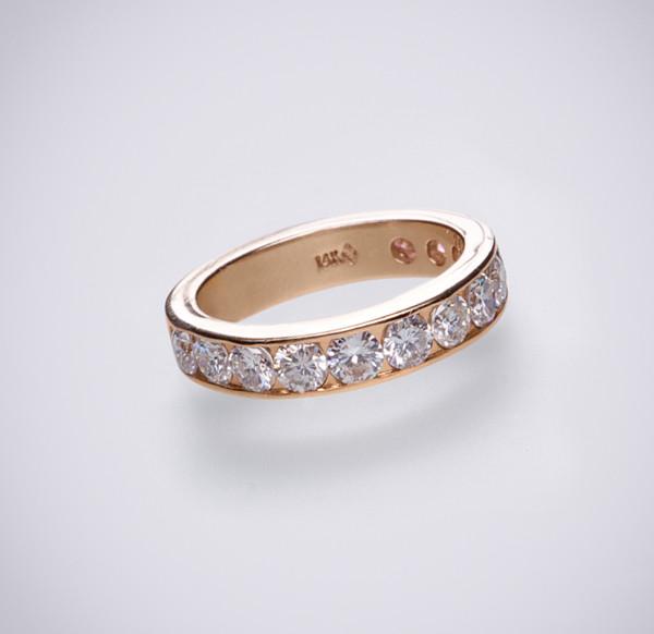 Кільце з жовтого золота з діамантами С21Л1№2