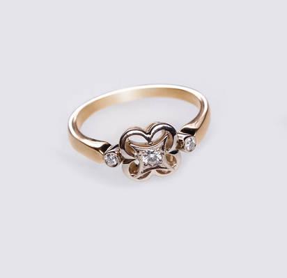 Золотое кольцо с бриллиантами С22Л1№13