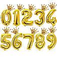 .Фольгований повітряна куля міні фігура корона золота 30 х 30 див., фото 2