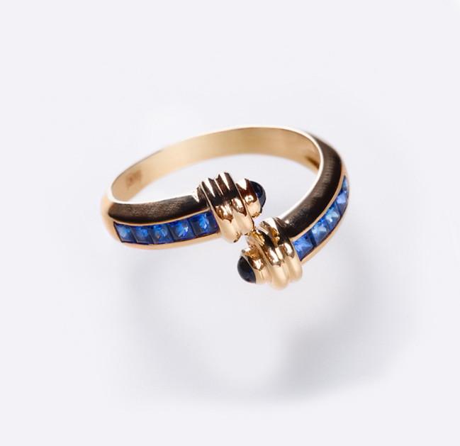 Золотое кольцо с сапфирами С20Л1№2