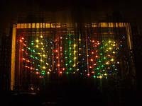 Новогодняя LED гирлянда сетка 2х2 м. разноцветная, синяя, белая