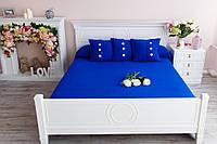 """Вязаный плед-покрывало для двуспальной кровати с подушками """"Ультрамарин"""""""
