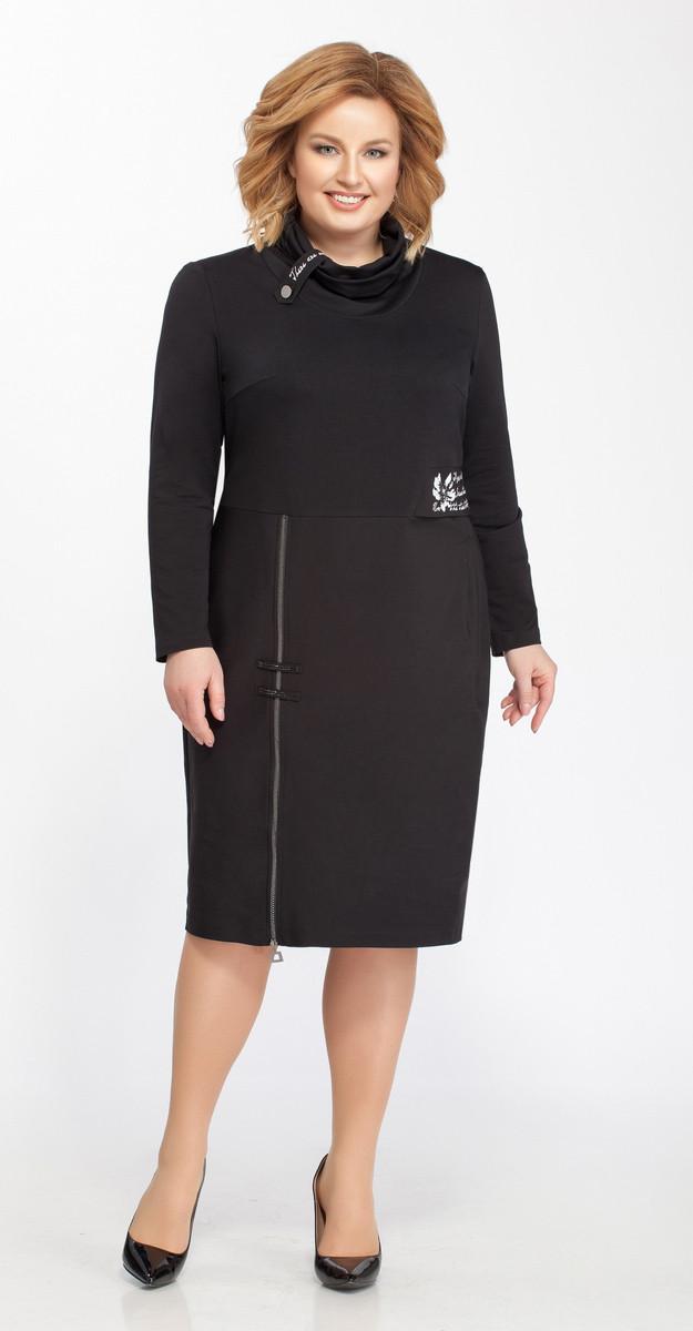 Платье Теллура-Л-1426 белорусский трикотаж, черный, 52