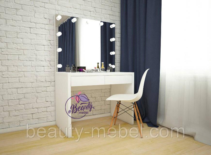 Столик для макияжа с зеркалом без рамы и с лампами