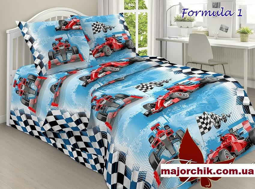 Комплект постельного белья Формула-1 Феррари Гонки. 1,5 спальный комплект 150х220см поплин