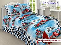 Комплект постельного белья Формула-1 Феррари Гонки. 1,5 спальный комплект 150х220см поплин, фото 1