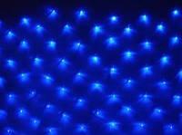 Новогодняя светодиодная прозрачная LED гирлянда сетка 1,5х1,3 м, 120 светодиода синяя, мульти