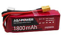 Аккумулятор AGA POWER Li-Pol 1800mAh 14.8V 4S 70C Softcase 31x35x105мм T-Plug (AGA70-1800-4S-S)