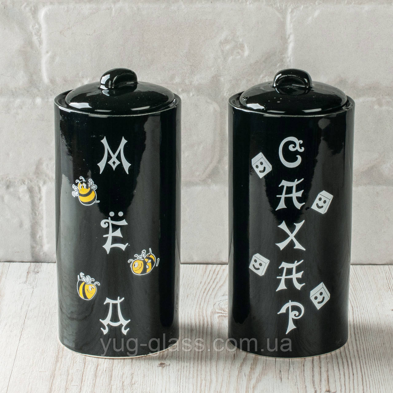 Набор   керамический 2-х предметный  ( Мёд+Сахар) чёрн.глянец