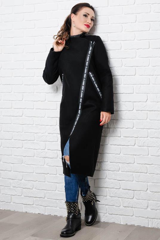 Женское батальное пальто Элисон,черное