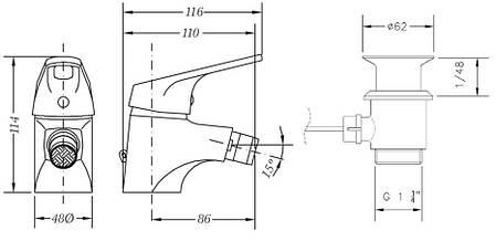 Смеситель для биде GENEBRE Ge2 c донным клапаном 60140224567 (60140224566+10020045), фото 2
