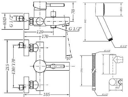 Смеситель для ванны GENEBRE Tau с душевым гарнитуром (65100184566), фото 2