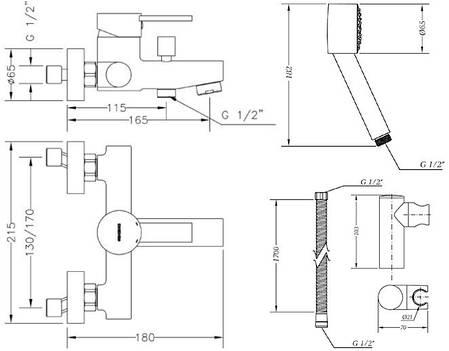 Смеситель для ванны GENEBRE Tau2 с душевым гарнитуром (65100294566), фото 2