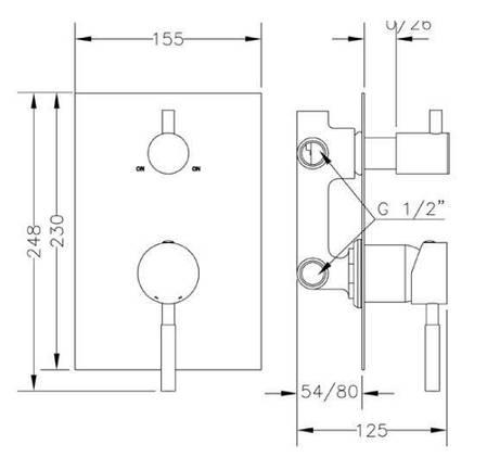 Смеситель для ванны и душа GENEBRE Tau 2way, встраеваемый, на 2 зоны (65117184566), фото 2