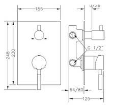 Смеситель для ванны и душа GENEBRE Tau 3way, встраеваемый, на 3 зоны (65118184566), фото 3