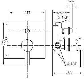 Смеситель для ванны и душа GENEBRE Tau2, встраеваемый, с переключателем (65116294566), фото 2