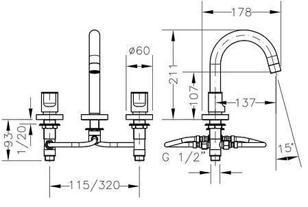 Смеситель для раковины GENEBRE KALO, скрытый монтаж (68124074566), фото 2