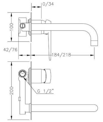 Смеситель для раковины GENEBRE Kode-22, встраеваемый, носик 22см (62132314566), фото 2