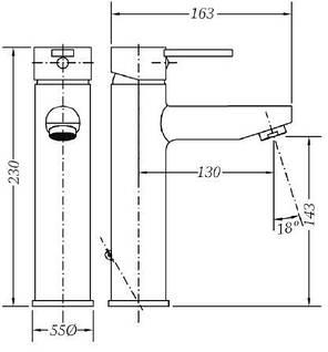 Смеситель для раковины GENEBRE Tau2, средний (65134294566), фото 2