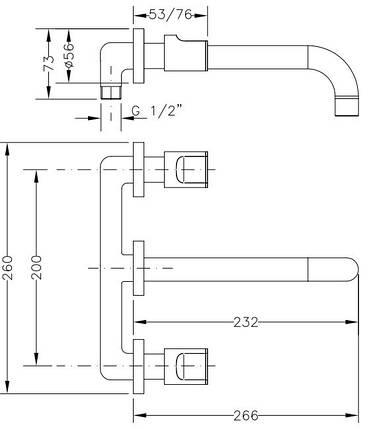 Смеситель для раковины I-22 GENEBRE KALO, скрытый монтаж (68132074566), фото 2