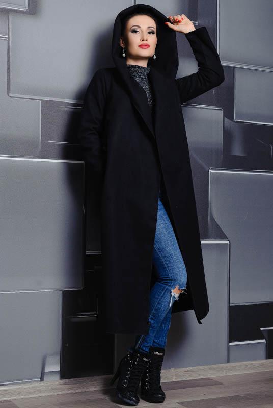 Черное батальное пальто с капюшоном Мариз