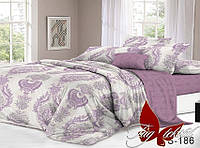 Комплект постельного белья с компаньоном S186 Евро maxi (TAG satin (еmax)-186)