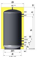 Бак аккумулятор 1500 л без изоляции. ЕАM-00-1500