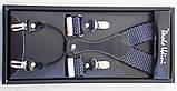 Подтяжки черные Paolo Udini с белым узором, фото 2