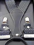 Подтяжки черные Paolo Udini с белым узором, фото 3