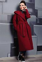 Пальто большого размера Мариз бордовый
