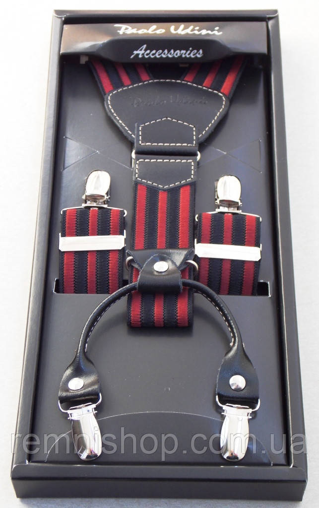 Подтяжки мужские Paolo Udini красно-черные