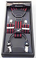 Подтяжки мужские Paolo Udini красно-черные, фото 1