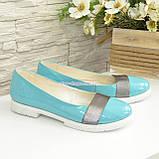 Женские кожаные бирюзовые туфли на утолщенной белой подошве, фото 7