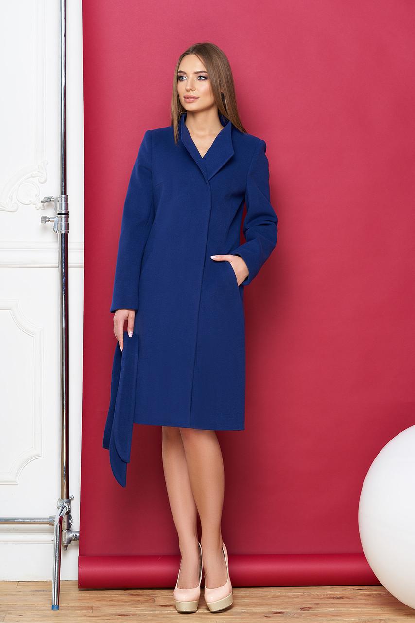 Синее женское кашемировое пальто весна осень