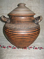 Горщик глиняний 1л червона глина з орнаментом
