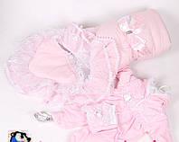 Конверт для новорожденных белый+ комбинизон для девочки