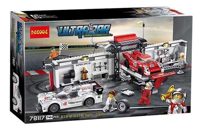 """Конструктор Decool 78117 (аналог Lego Speed Champions 75876) """"Пит-лейн: Порше 919 Гибрид и Порше 917"""", 749 дет"""