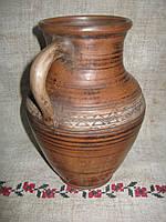Глечик глиняний червона глина 3л, фото 1